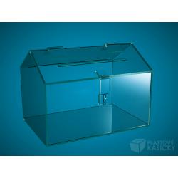 podlouhlá pokladnička bez přesahu čirá, 350 x 150 x 170 mm, s přesahem