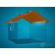 domečková oranžová střecha, 250 x 200 x 200 mm, s přesahem